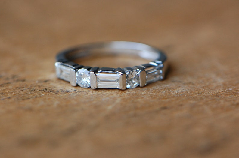 Vintage mid-century platinum wedding band with baguette and image 0