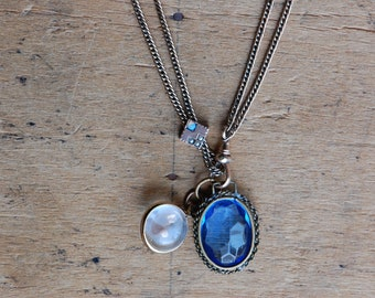 Vintage 1910s gold fill watch slide with opaline glass, pearls, and charms