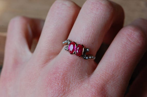Vintage 1910s 10K synthetic ruby and seed pearl d… - image 5
