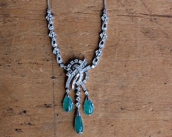 Vintage 1960s platinum, diamond, and natural emerald drop gemstone necklace
