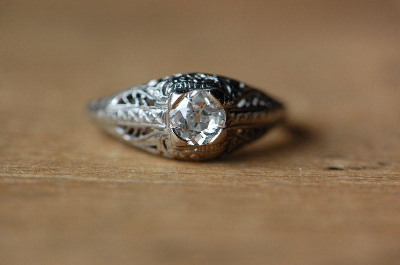 Vintage 1930s Art Deco Old European Cut diamond solitaire ring image 0