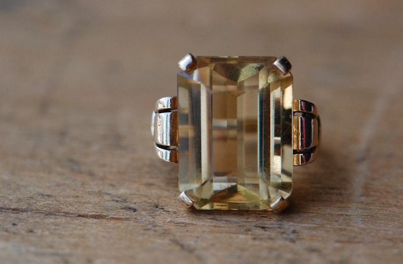 Vintage 1960s 14K 18 carat citrine dress ring image 0