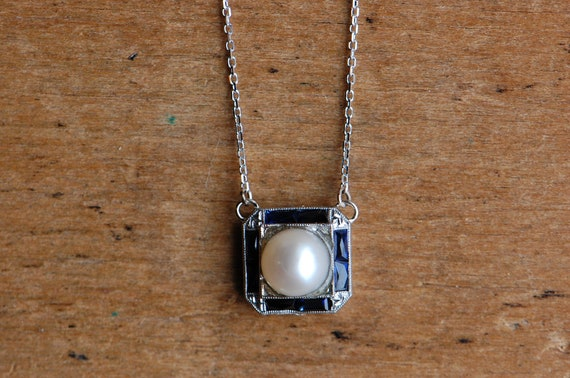 Antique Art Deco 1930s custom pearl and sapphire p