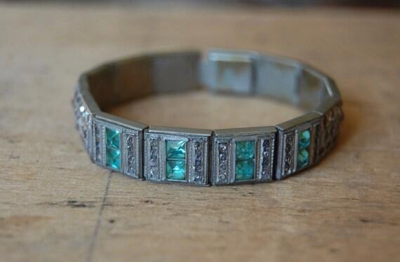 Art Deco rhinestone line bracelet with aqua glass