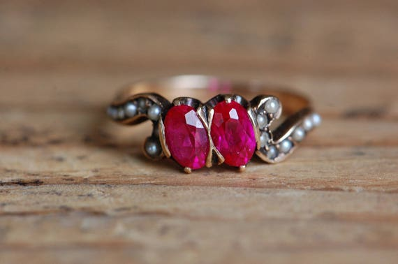 Vintage 1910s 10K synthetic ruby and seed pearl d… - image 1