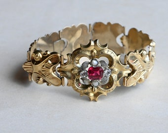 Antique Victorian 10K hollow gold link bracelet with simulated ruby stone