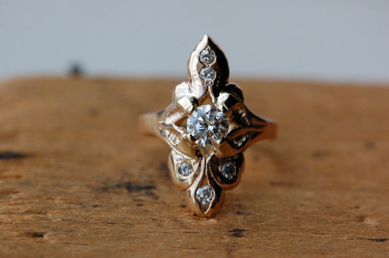 Vintage 14K gold cocktail ring with .52 carat Old Euro Cut image 0