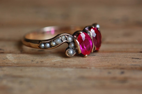 Vintage 1910s 10K synthetic ruby and seed pearl d… - image 2