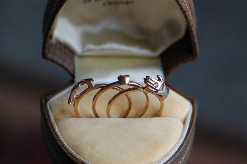 Vintage 1960s gold fill triplet gimmel ring with hidden heart image 0