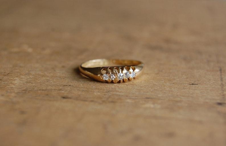 dc030f4d7b31d Antique 18K multi diamond engagement ring ∙ 1910s five-diamond Edwardian  diamond band ∙ WE19