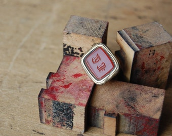 Antique Victorian intaglio carnelian fob initials LT ∙ Victorian carnelian fob
