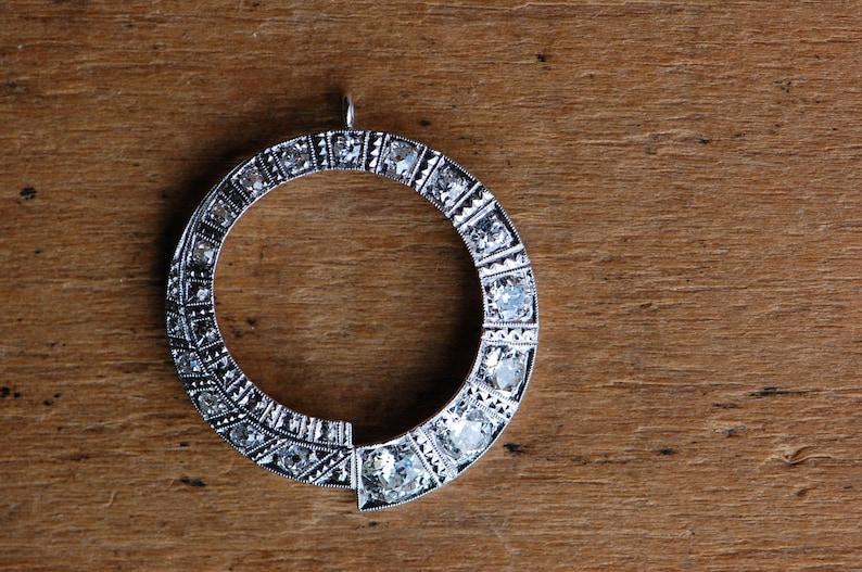 4a3d577dc66dd Vintage 1940s 14K pavé old cut diamond swirl pendant 1.56 carat total weight
