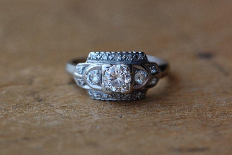 Vintage 1930s Art Deco three-diamond engagement ring image 0