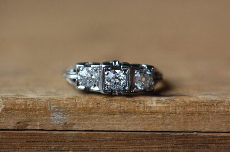 Vintage 1930s 18K Art Deco JABEL triple-diamond engagement image 0