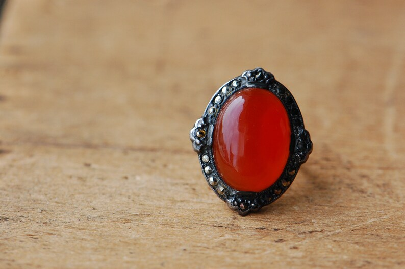 Vintage Art Deco 1930s carnelian cocktail ring with marcasite image 0