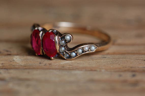 Vintage 1910s 10K synthetic ruby and seed pearl d… - image 3