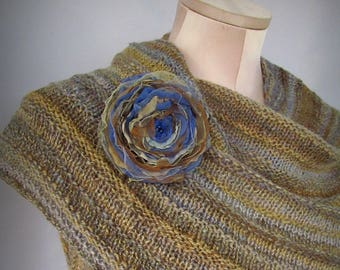 Ladies Tan and Blue Hand Spu and Knitted Wrap with Flower Pin