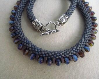 Blue Gray Purple Beaded Kumihimo Necklace
