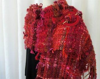 Ladies Red Saori Style Woven Wrap