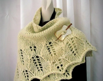 Hand Knitted Bulky Lace Wrap