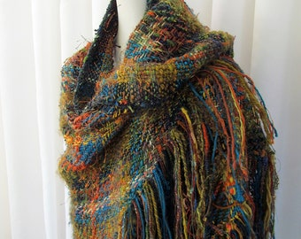 Hand Woven Tri Loom Shawl in Fall Colors