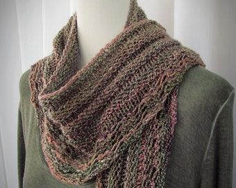 Ladies Long Scarf, Hand Spun and Knitted