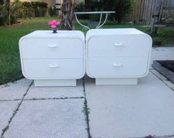 LACQUERED SEAGRASS NIGHTSTANDS / Pair Of Waterfall Style Nightstands / Ello  Style / Mid Century Style At Retro Daisy Girl