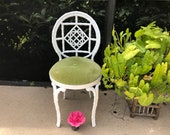 FAUX BAMBOO METAL Chair Hollywood Regency Faux Bamboo Iron Fretwork Chair Chippendale Mid Century Modern Style at Retro Daisy Girl