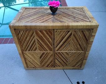 PENCIL REED CABINET Bamboo Reed Bar / Gabriella Crespi style Reed Cabinet / Island style Bamboo Cabinet at Retro Daisy Girl