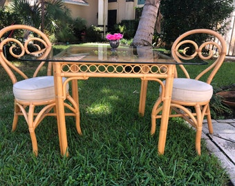 ISLAND STYLE BISTRO Table with Rattan Fretwork and Bentwood Circle Top and Glass Top at Retro Daisy Girl