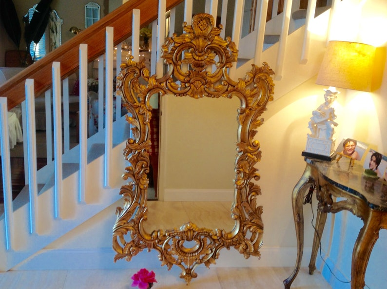 5f8aa6fabea0 GOLD ROCOCO MIRROR 5 Foot tall x 34.5 wide Hand Carved