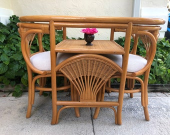 VINTAGE RATTAN DINETTE Set/ Bistro Table /Nesting Table 2 Chairs/Compact Dining table Set / Rattan Bamboo Table and chairs Retro Daisy Girl