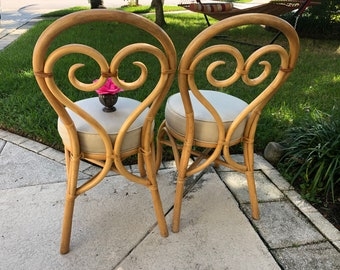 2 THONET BENTWOOD STYLE Chairs / Pair of Island Style bamboo Chairs Heart Shape chairs at Retro Daisy Girl