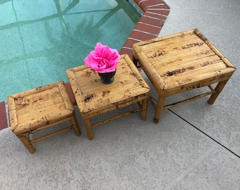 3 BAMBOO SIDE TABLES Plant stands /Vintage Bamboo Plant Stands NestingTables /Tortoise Table Boho plant stands Bamboo at Retro Daisy Girl
