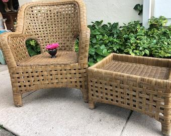 RATTAN CHAIR and Ottoman/ Vintage Rattan Arm Chair and Ottoman / Bohemian Island style Chair at Retro Daisy Girl