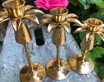 3 BRASS PINEAPPLE CANDLE Holders / 3 Tiered Brass Candle Holders / Vintage Hampton Brass set of 3 at Retro Daisy Girl