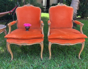 Pair FRENCH PROVINCIAL CARVED Arm Chairs / Carved Floral Louis xv Style Armchairs Fauteuil Style at Retro Daisy Girl