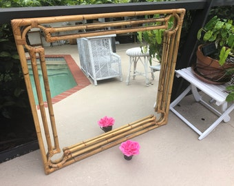 "VINTAGE BAMBOO RATTAN MIRROr / 40"" x 36"" Gorgeous Bamboo Rattan Mirror / Bohemian Island style Mirror Palm Beach Style at Retro Daisy Girl"