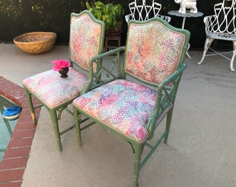 FAUX BAMBOO CHIPPENDALE Side Chair with Upholstered Seat / Chinese Chippendale Chair /1 Avail/Faux Bamboo Chinoiserie Style Retro Daisy Girl