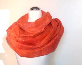 Felted coral shawl scarf felting wool silk luxury cape wedding bridesmaid idea for her