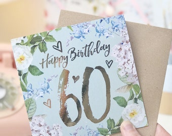 Botanical And Gold Foil 60th Birthday Card