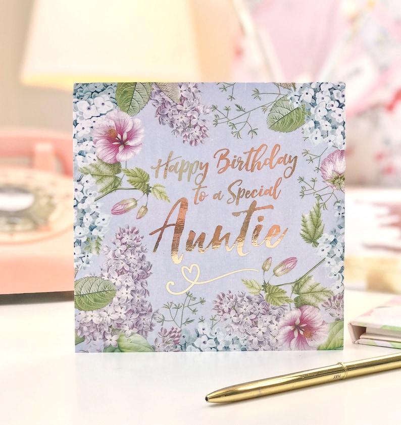 Scheda Di Compleanno Zia Felice Botanica E Oro Foglia Etsy