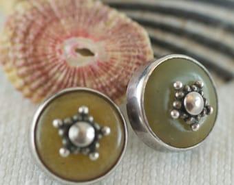 Vintage Sterling Silver Artisan Made Greenish Quartz Sterling Embellishment Post Style Pierced Earrings  .....5167