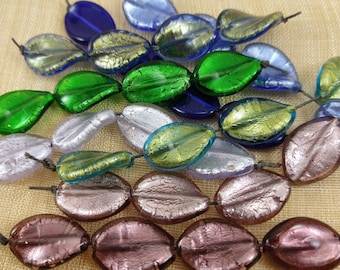 Set of 4 Venetian Foil Glass Twisted Oval Beads VGL112A
