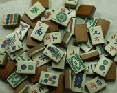 Set of 5 Vintage Wood and Bone Mahjong Tiles from the 1940s. VPR409