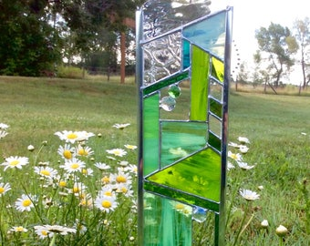 STAINED GLASS garden art - plant stake in Green. Also available as hanging window