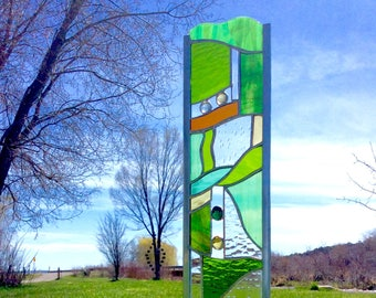 Stained Glass GARDEN STAKE beautiful glass art for your yard