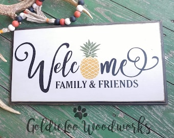 Welcome Family & Friends, Wall Sign, Wall Decor, Word Art, Goldieloo Woodworks