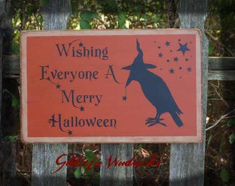 Primitive Folk Art Merry Halloween Wood Sign