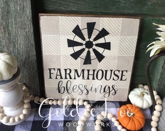 Farmhouse Blessings, wood wall sign